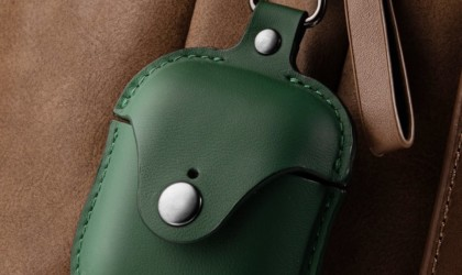 Close up of green leather AirPods case