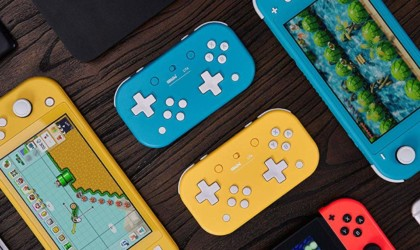 Blue and yellow game controllers