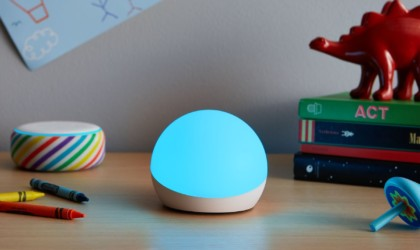 Amazon Echo Glow lit up blue