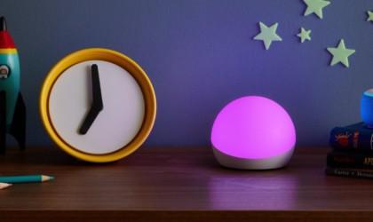Amazon Echo Glow lit up pink