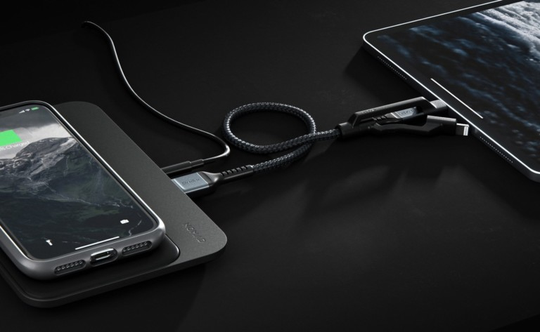 Kevlar cable plugged into two devices