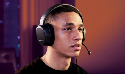 Close up of person wearing gaming headset
