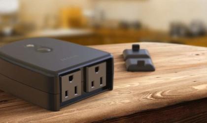 Outdoor smart plug on wood worktop