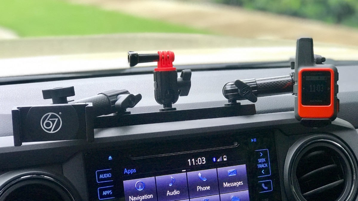 67 Designs TacoRail Tacoma Gen 3 Device Mounting Solution universally holds all phones