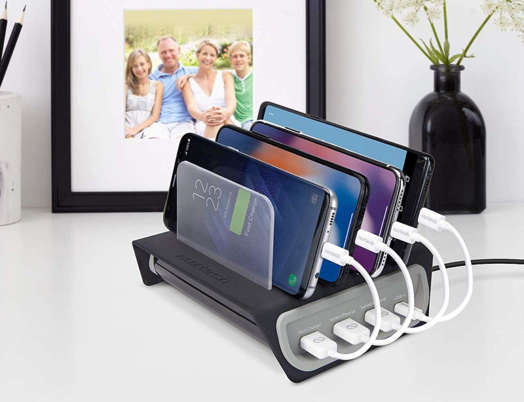A piece of office tech that is charging four smartphones