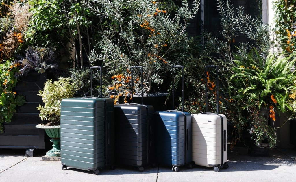 A row of four suitcases in decreases sizes from left to right in green, gray, blue, and white, in front of a bush.