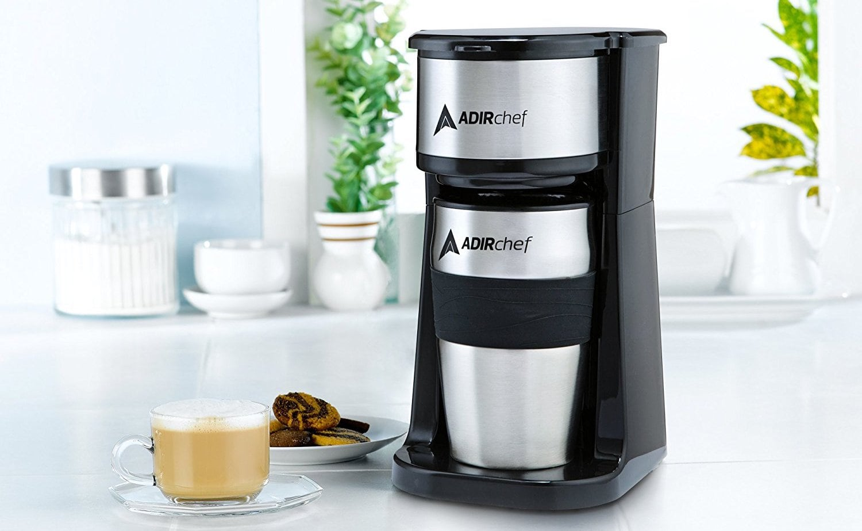 AdirChef Grab & Go Personal-Size Coffee Maker brews directly into a 15-ounce mug