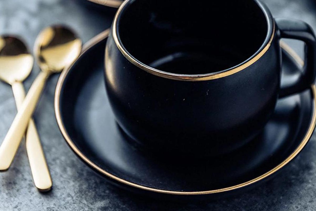 Black Pigmented Ceramic Tea Cup Set & Spoon is the class your morning tea needs