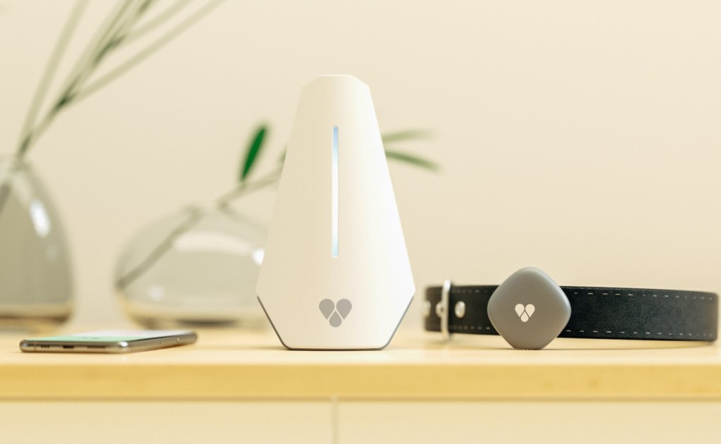 A white triangular base station on a table with a pet activity monitor and collar next to it.