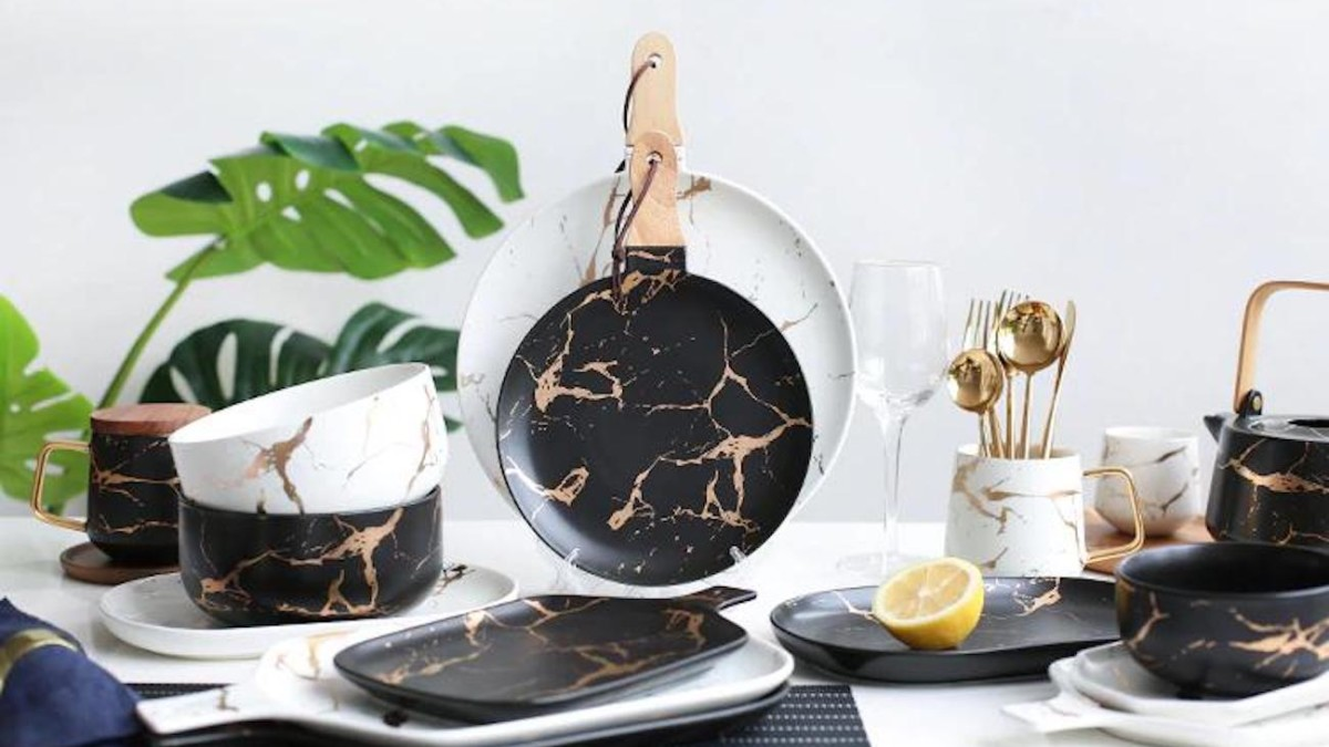 Gold Marble Ceramic Serving Dishes are striking from every angle