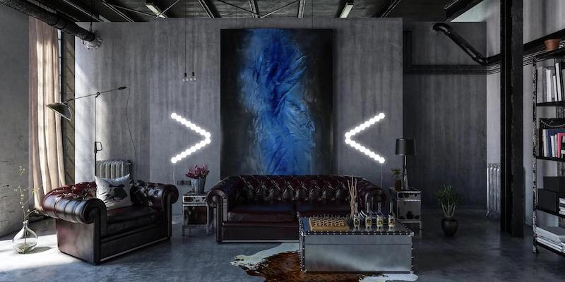 A dark gray room with a large blue painting hanging on the wall, and there are modular lights in the form of arrows pointing to the painting.