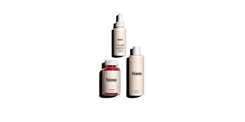 A picture of three bottles: vitamins, shampoo, and hair serum.