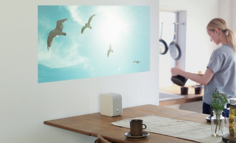Sony projector showing birds on a wall