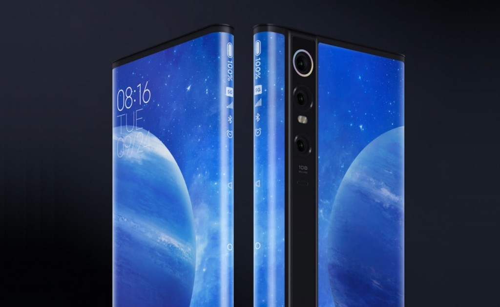 A pair of smartphones with impressive new technology are side by side, front to back, to show the wraparound screen.