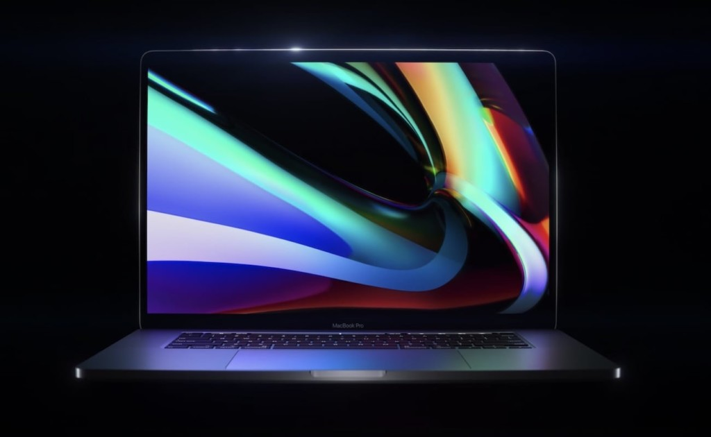 A straight-on view of an open MacBook with a colorful image on the screen.