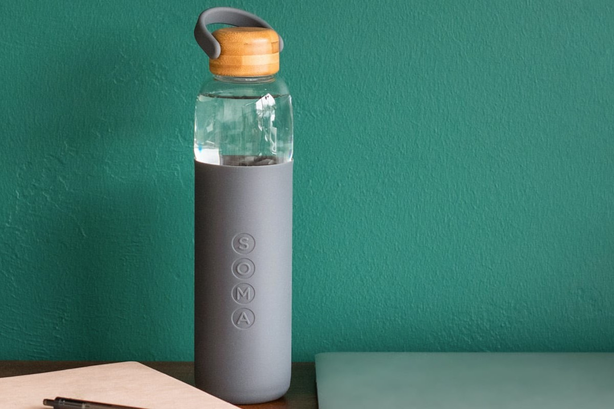 Soma 25-Ounce Glass Water Bottle has a convenient silicone carry handle