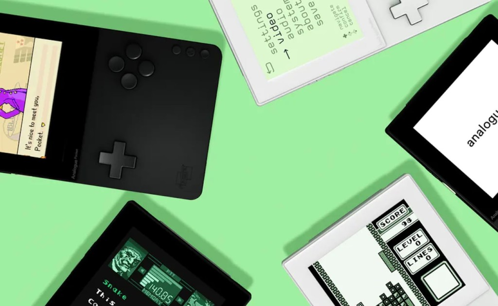 An array of latest tech gadgets handheld video game devices against a green background.
