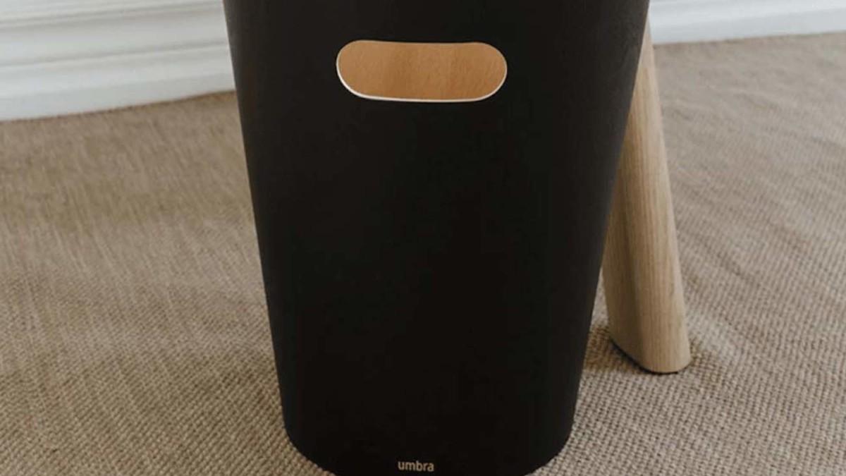 Umbra Woodrow Wood Wastebasket modernizes your common household bin
