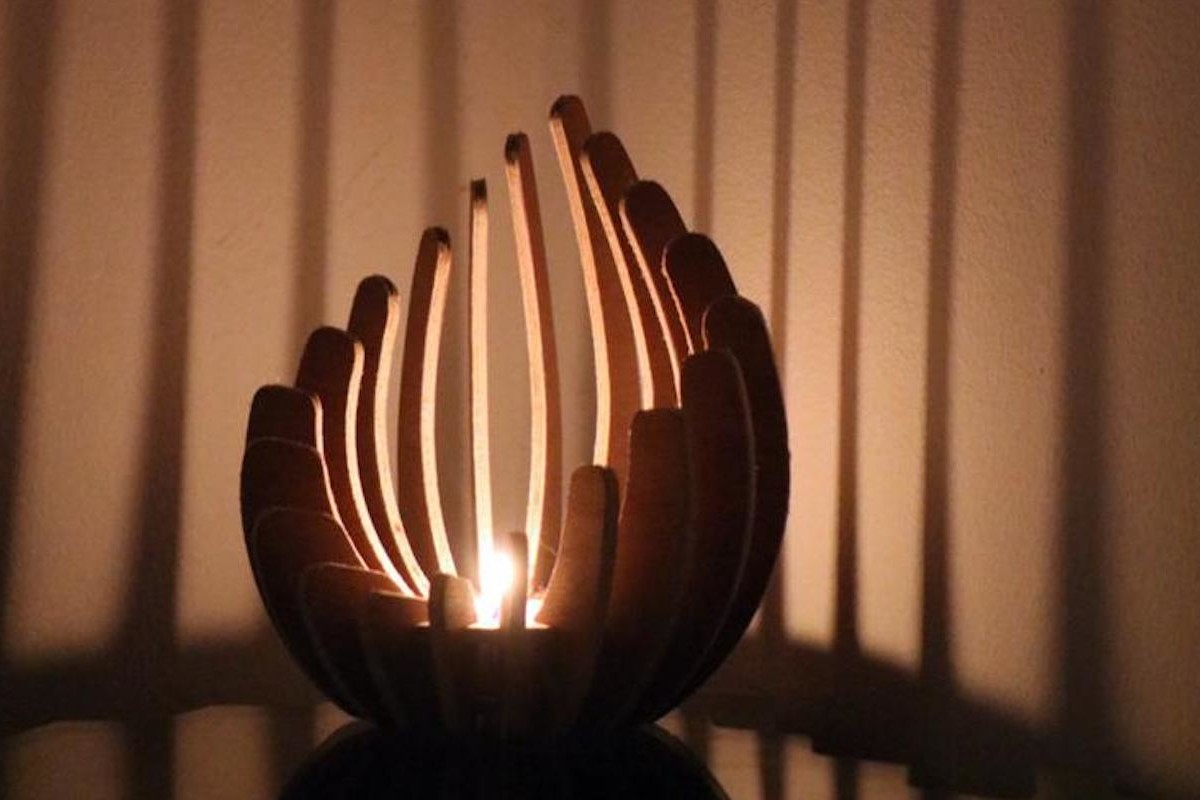 Wood Candleholder Tealight Display offers a unique spot to burn your candle