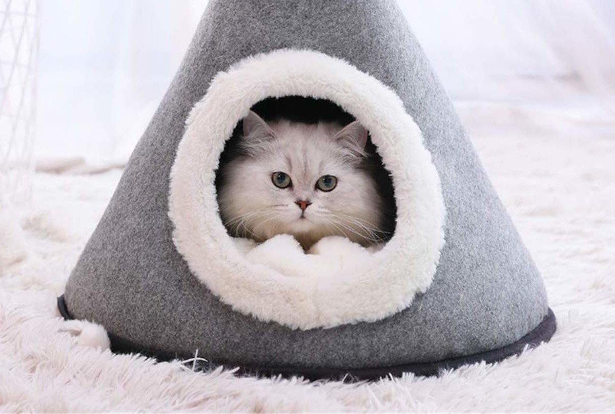 Wool Felt Castle Cat Bed gives your cat the royal treatment