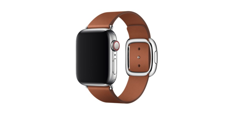 Apple watch with leather strap on a white background