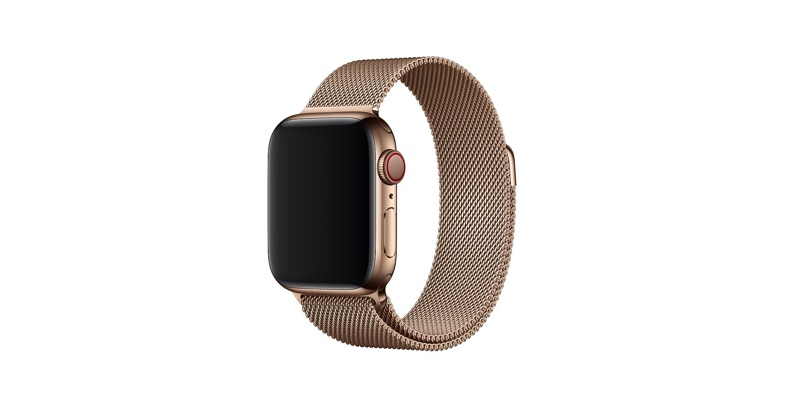 Apple watch with milanese strap on a white background