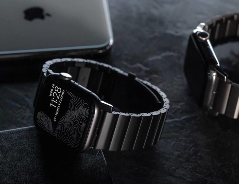 Apple watch with titanium link band