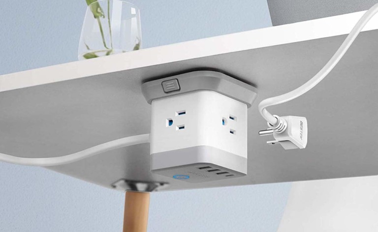 Charging cube attached under a desk