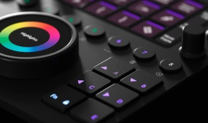 Detail shot of buttons on editing console