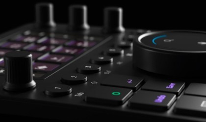 Close up view of editing console device