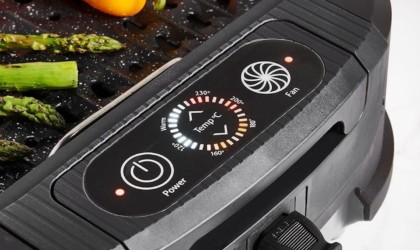close up of controls of a smokeless grill