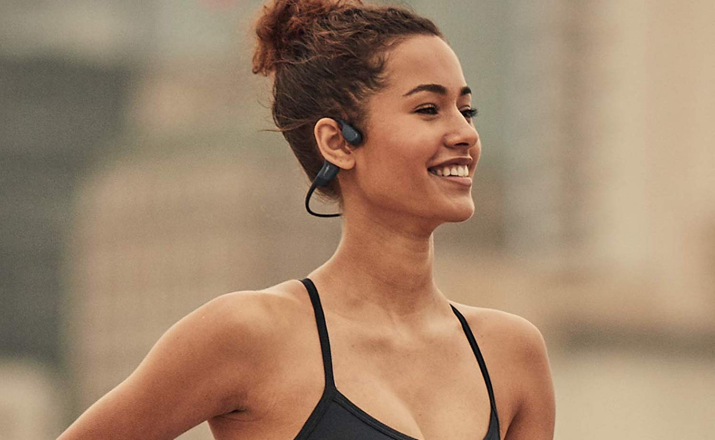 AfterShokz Aeropex Wireless Bone Conduction Headphones transmit audio through your cheekbones