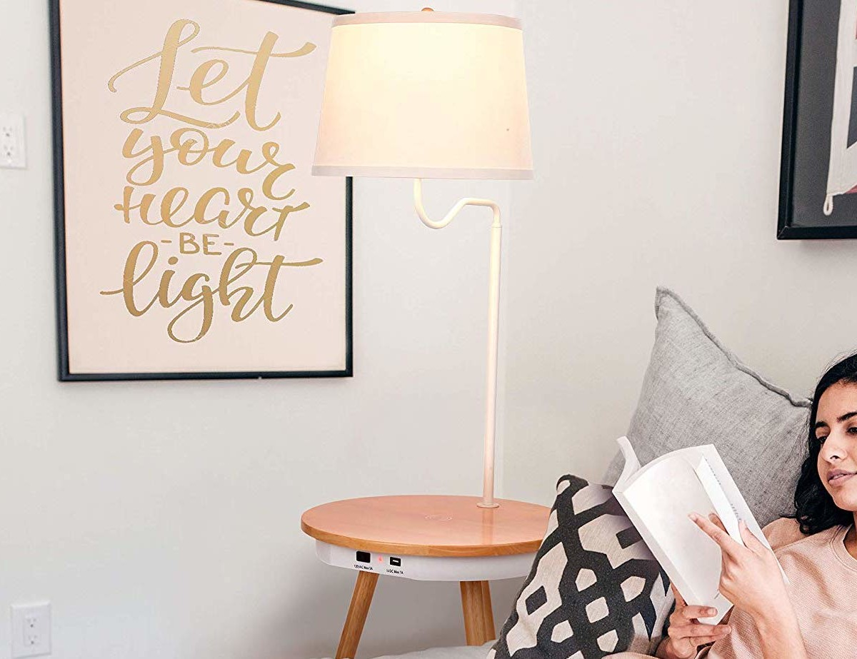 Brightech Owen Floor Lamp Side Table has a built-in tabletop wireless charger