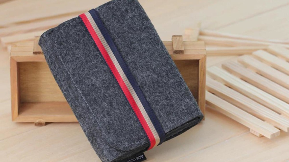 Compact Wool Felt Tech Pouch makes it easy to pack all your tech gear