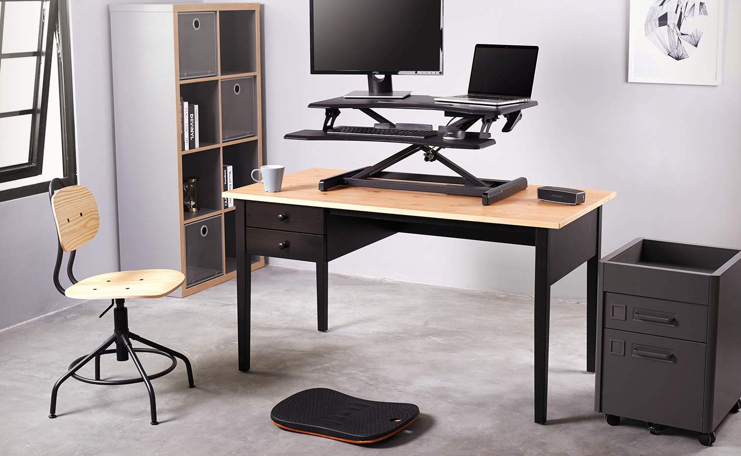 FEZIBO Ergonomic Standing Desk Converter allows you to find the most comfortable working position