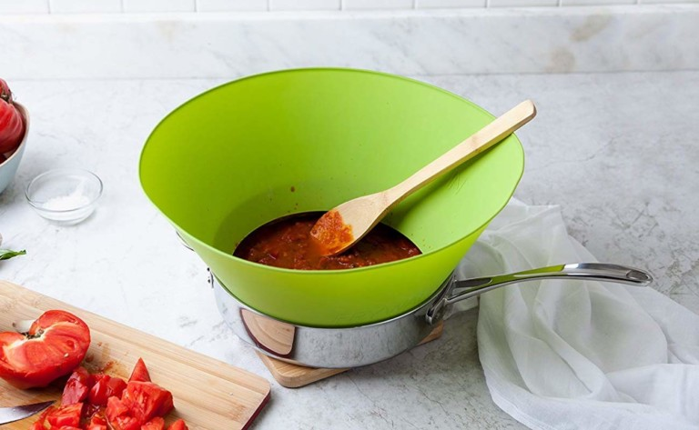 Frywall Splatter Cone protects your kitchen and yourself from hot and messy splashes