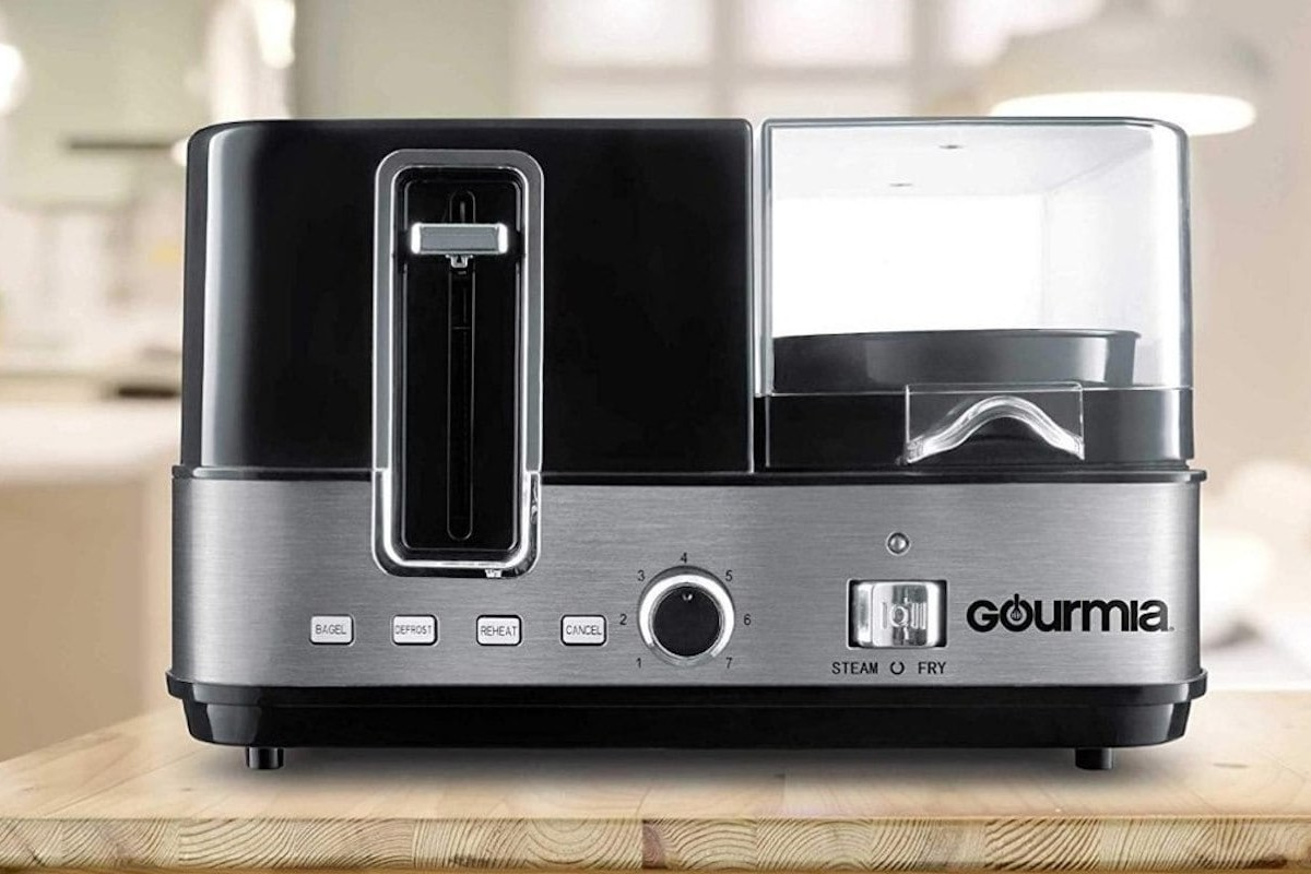 Gourmia GBF370 Complete Breakfast Station toasts bread, cooks eggs, and steams vegetables