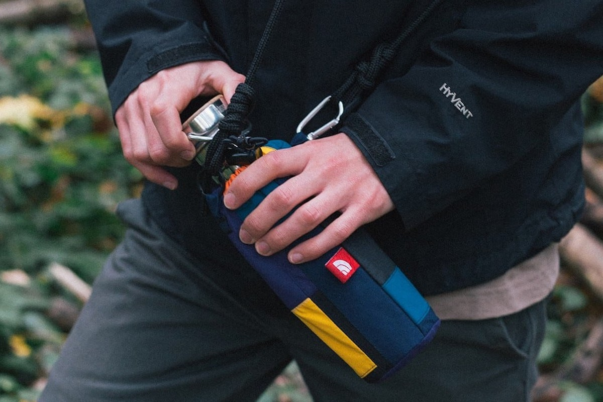 Greater Goods Offcuts Scrap Bottle Bag makes use of extra pieces from North Face jackets