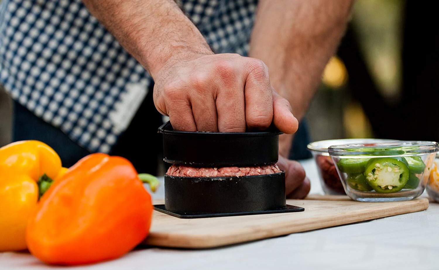 Grillaholics Stuffed Burger Press Hamburger Filler makes round, full burgers ready for the grill