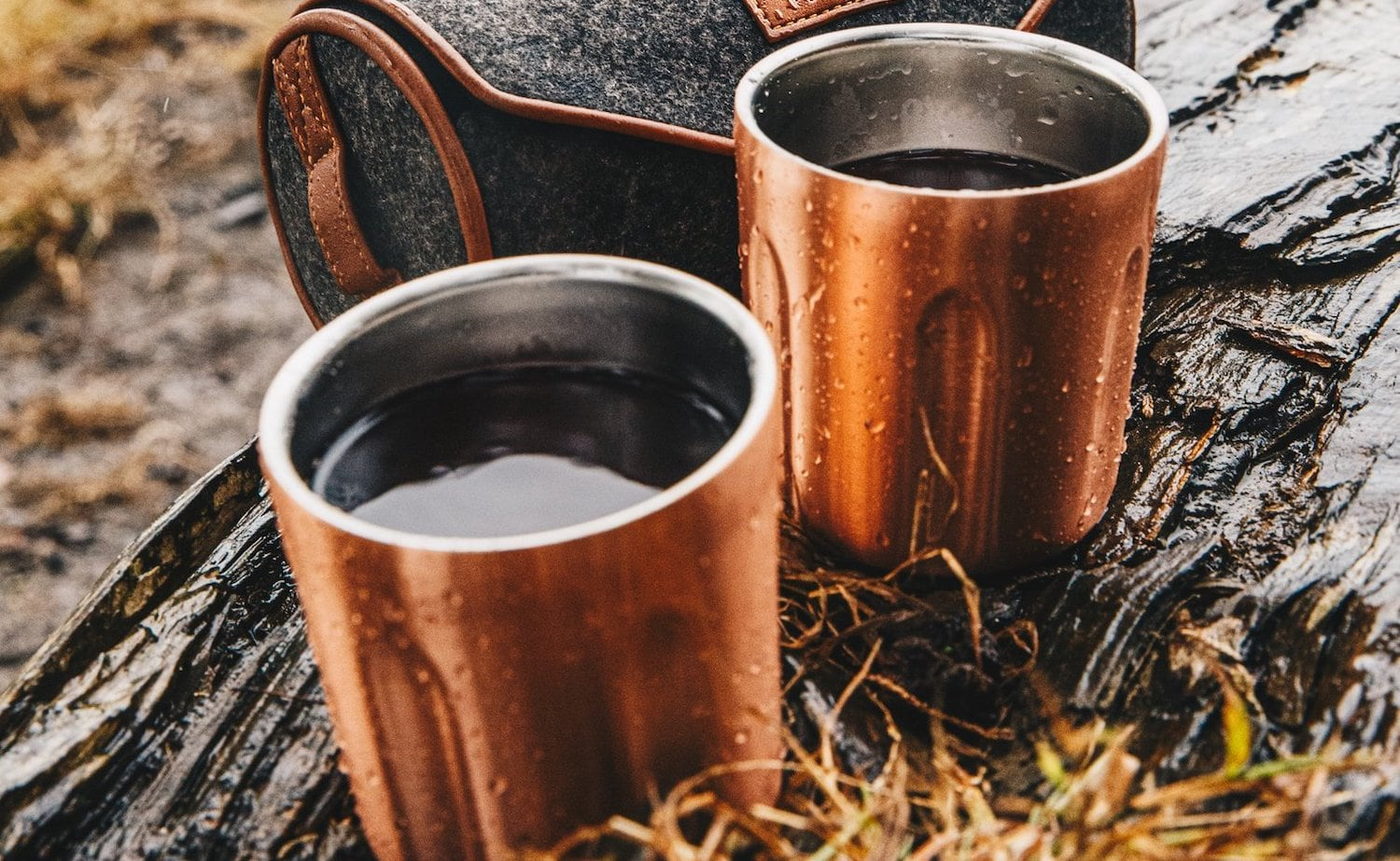 High Camp Firelight Whiskey Tumblers & Felt Case making it easy to enjoy a drink in the wild