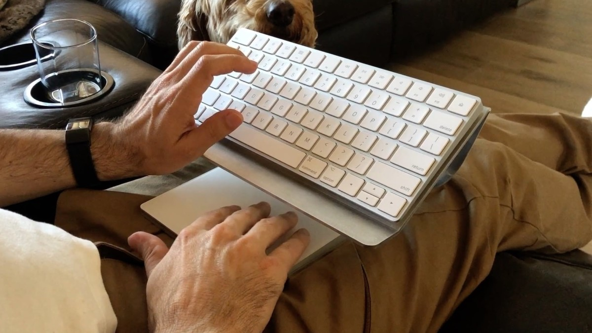 MagicStand Pro Large Display Multimedia Stand lets you comfortably use your Apple wireless keyboard and trackpad