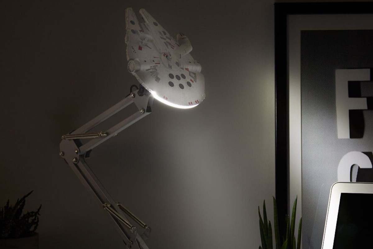 Millennium Falcon Star Wars Desk Lamp illuminates the dark and the light side of your workspace