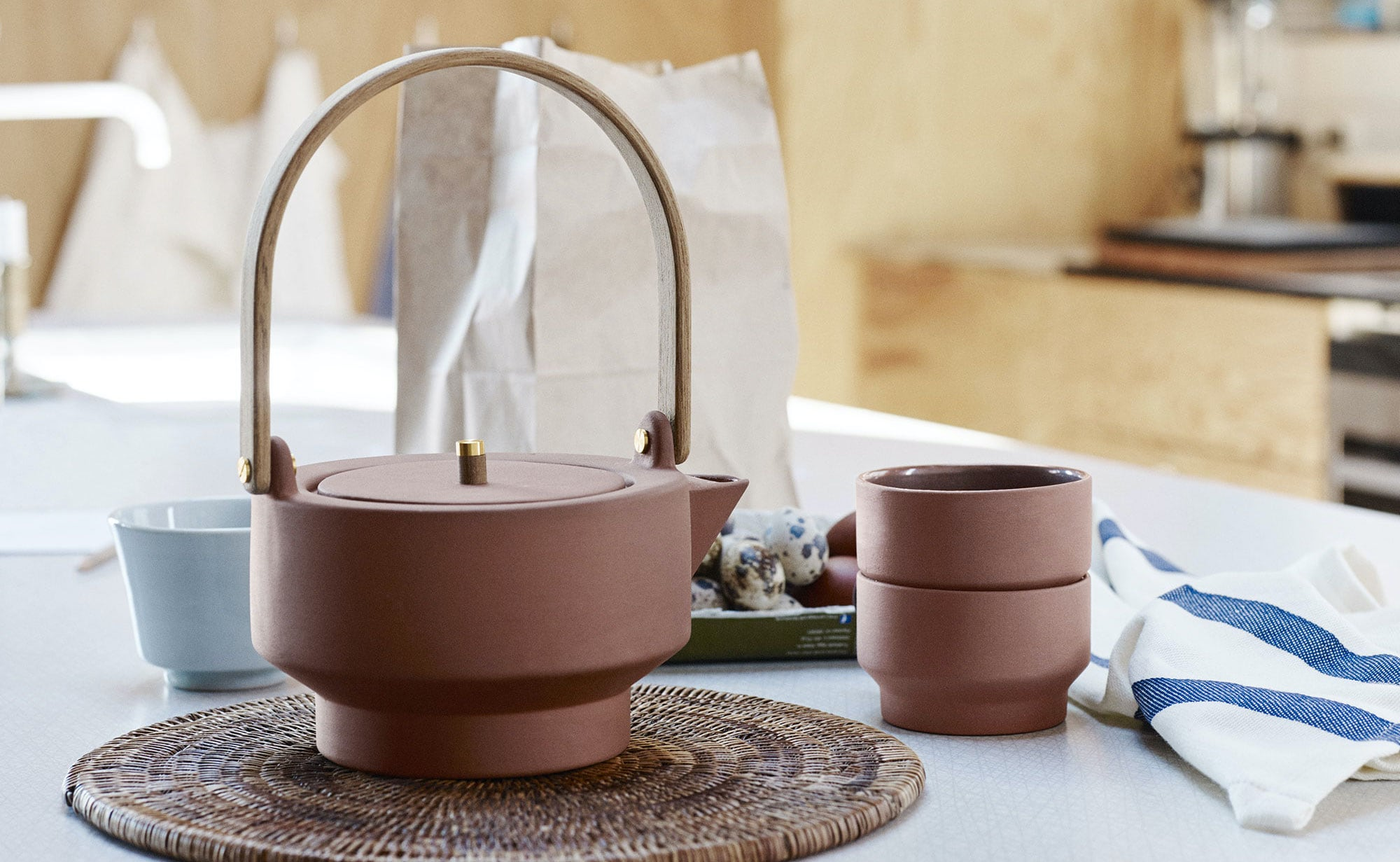 Skagerak Edge Terracotta Teapot is a strikingly simple teatime accessory