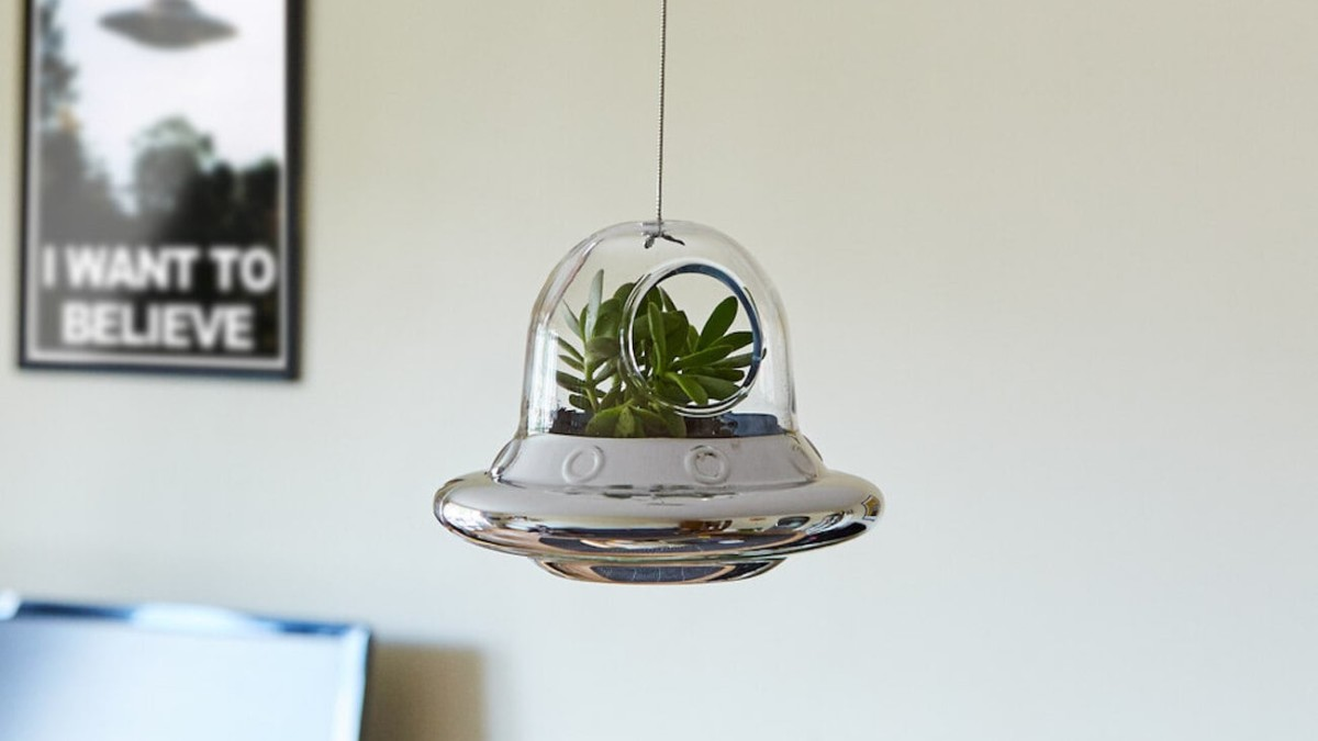 Space Invader Hanging Planter UFO Terrarium makes your plants look out of this world