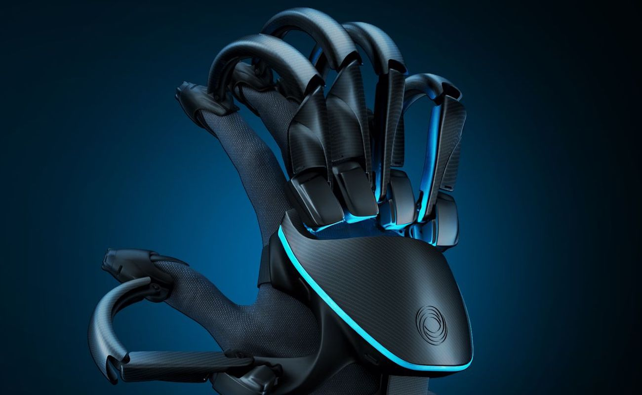 The Teslasuit Glove is show against a blue background.