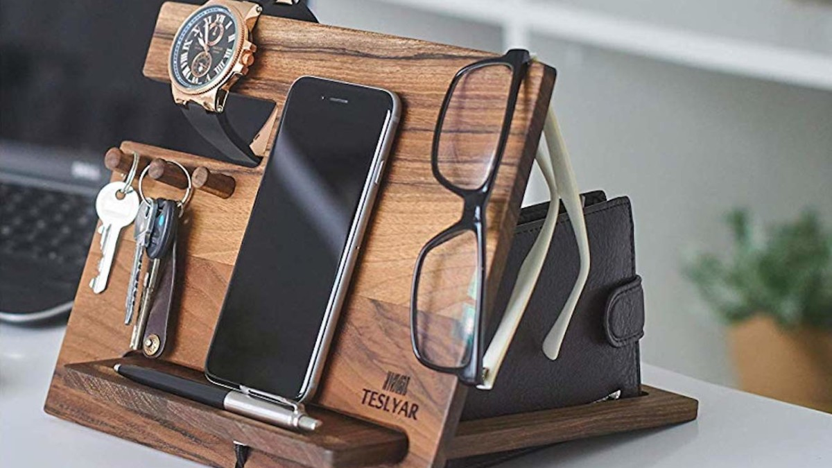 Teslyar Walnut Desk Organizer Dock designates spaces for all of your essentials