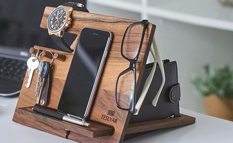 Teslyar Walnut Desk Organizer Dock designates spaces for all of your essentials