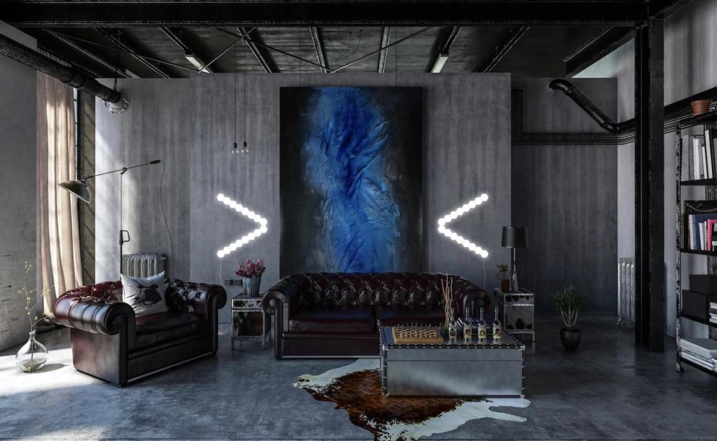 A view of a modern industrial living space with touch lights in the shape of arrows on the wall, pointing toward a blue painting.