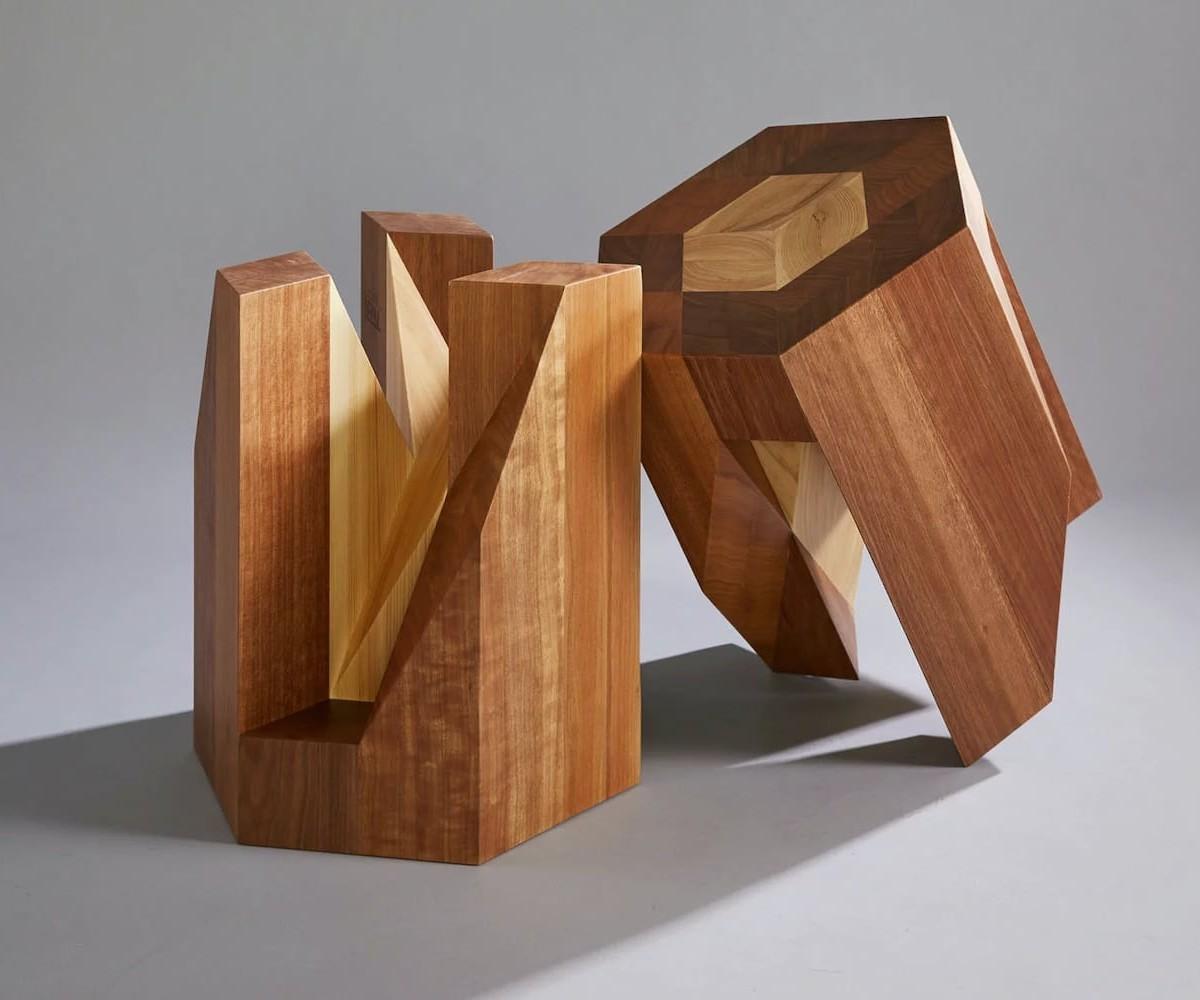 Yosegi Japanese Nesting Stools fit together like an interlocking puzzle