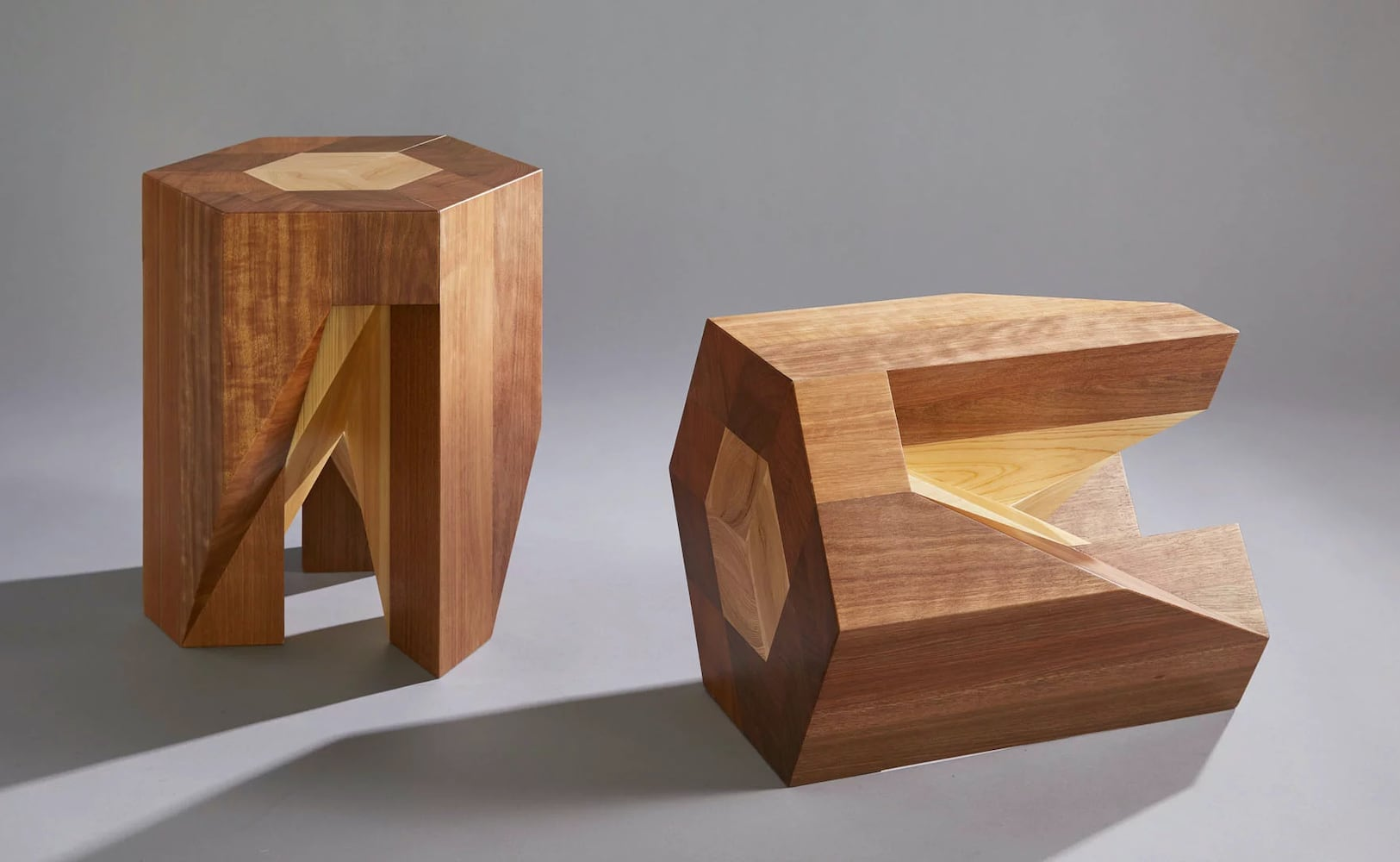 Yosegi Japanese Nesting Stools fit together like an interlocking puzzle